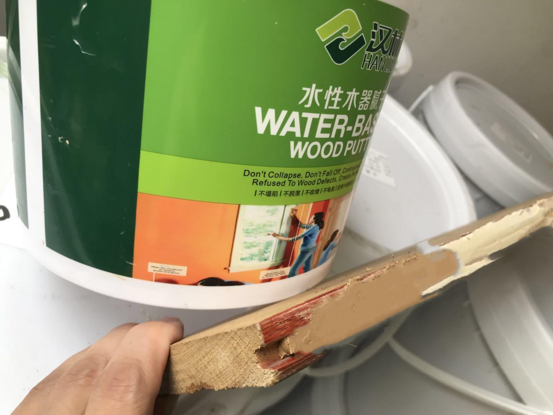 海南户外防腐木材裂缝修补,采用汉林水性腻子效果好