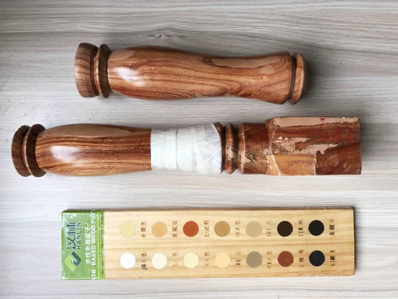 户外木材修补腻子,汉林牌户外专用型水性腻子不开裂不脱落,有图为证