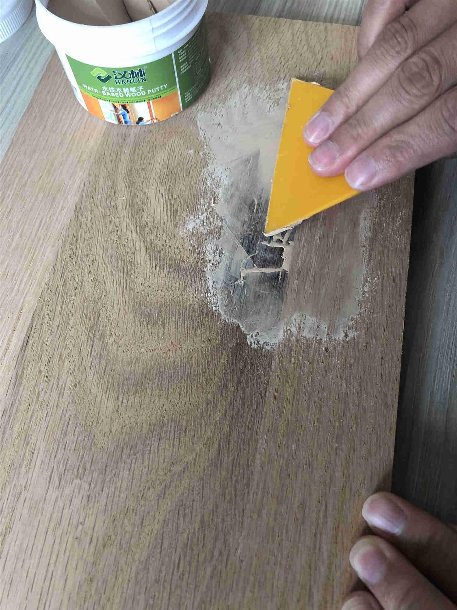 修补案例|汉林水性腻子修补榉木结疤的步骤详解